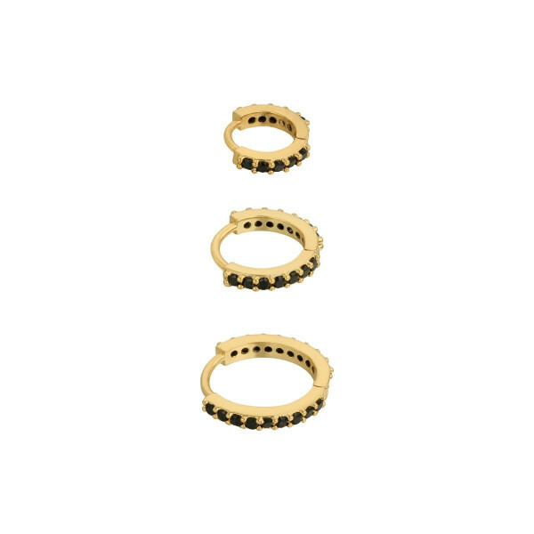 EARRING SET GOLD/BLACK