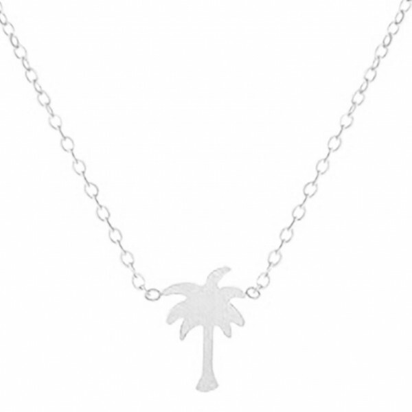SILVER PLATED PALM NECKLACE