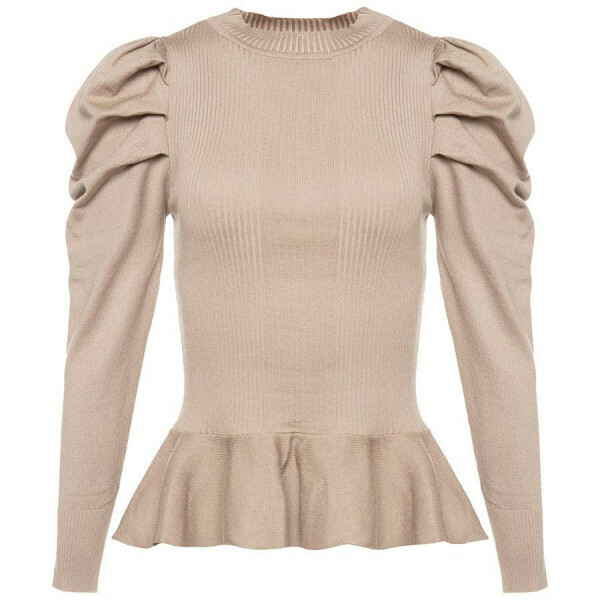 PEPLUM PUFF TOP BEIGE