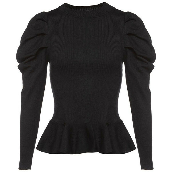 PEPLUM PUFF TOP BLACK