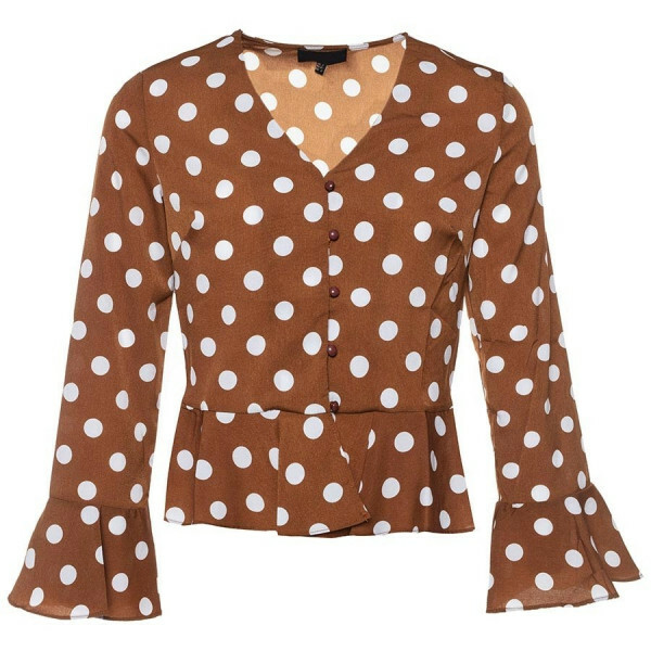 PEPLUM DOT TOP BROWN