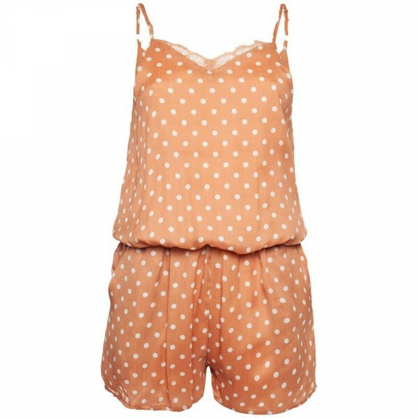 PLAYSUIT PEACH DOTS
