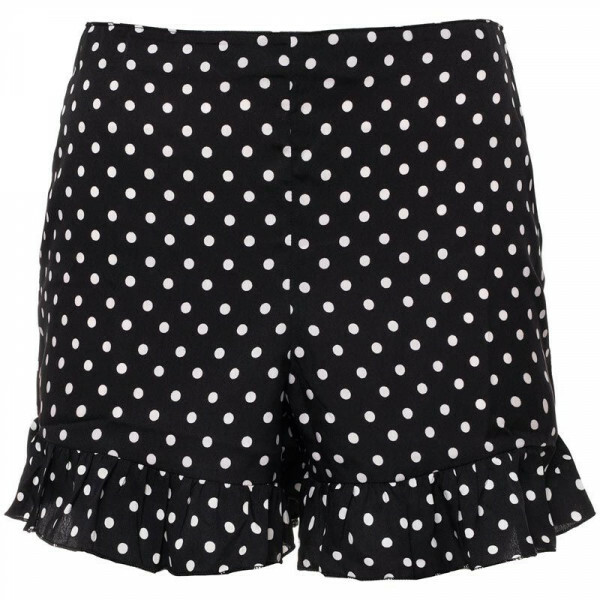 BLACK DOTTY RUFFLE SHORTS