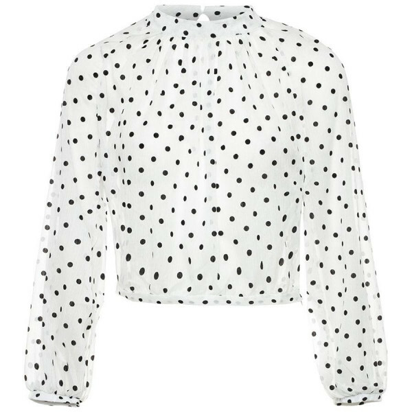 MESH POLKADOT TOP WHITE