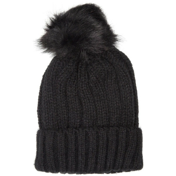 KNITTED POMPOM BEANIE BLACK