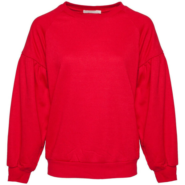 RED PUFFED SLEEVE SWEATER