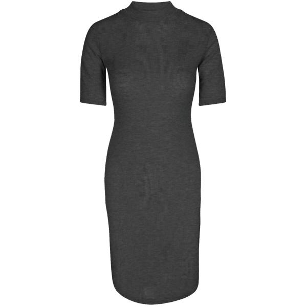 RIBBED HIGH NECK DRESS BLACK