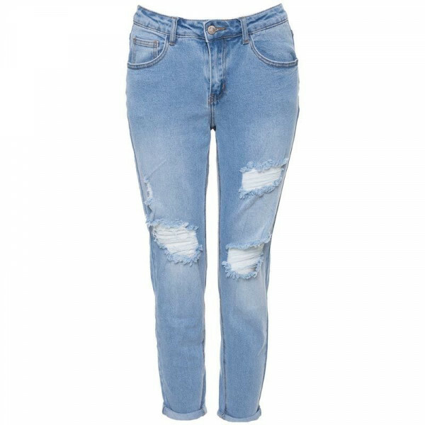 RIPPED LIGHT GIRLFRIEND JEANS