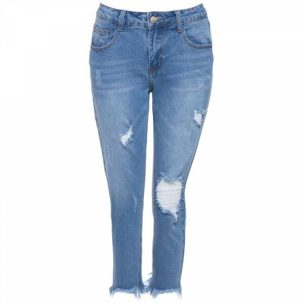 FRAYED GIRLFRIEND JEANS