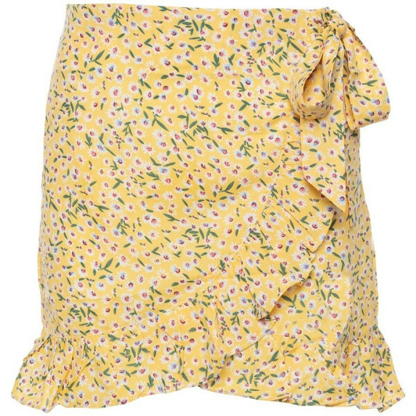 FLORAL RUFFLE SKIRT YELLOW