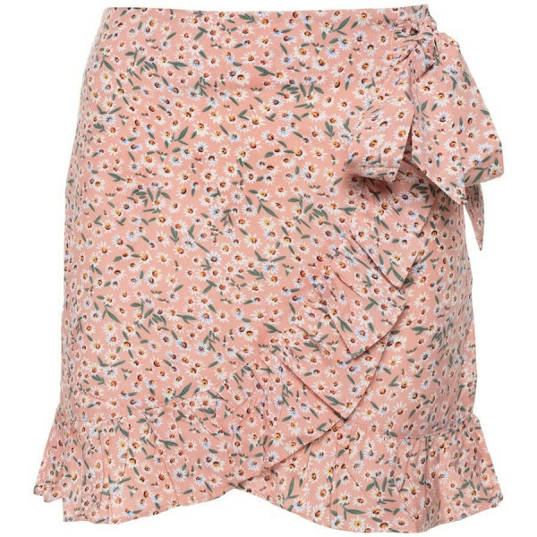 FLORAL RUFFLE SKIRT PINK