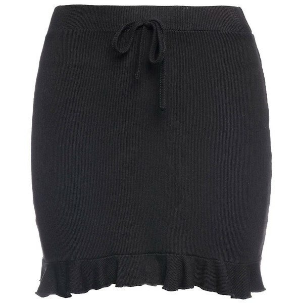 SOFT RUFFLE SKIRT BLACK