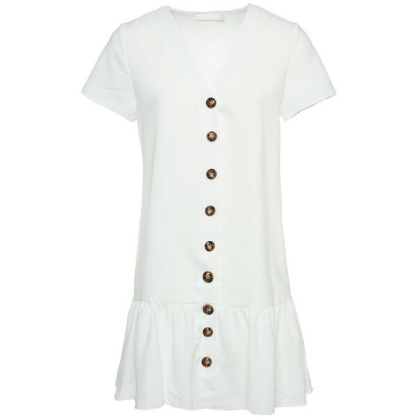 BAGGY RUFFLE DRESS WHITE