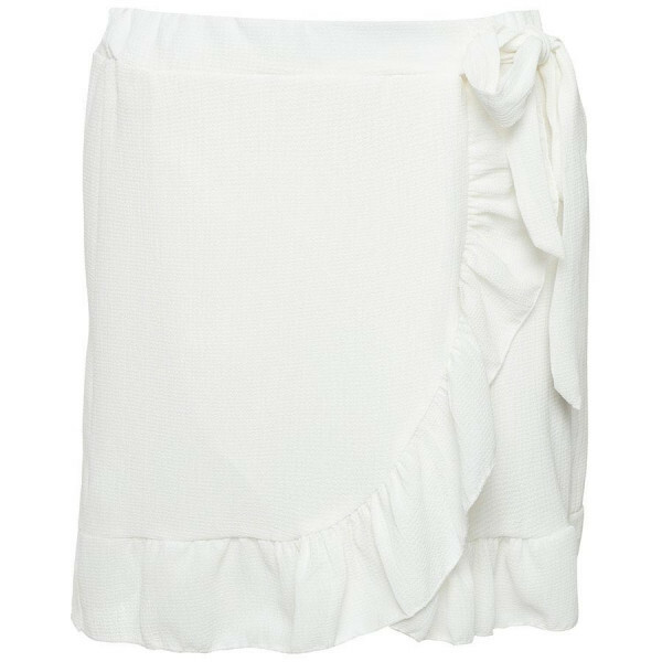 RUFFLE WRAP SKIRT WHITE