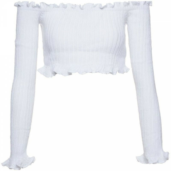 WHITE STRETCHY BARDOT KNIT