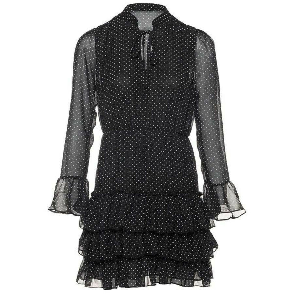 RUFFLE DOT DRESS BLACK