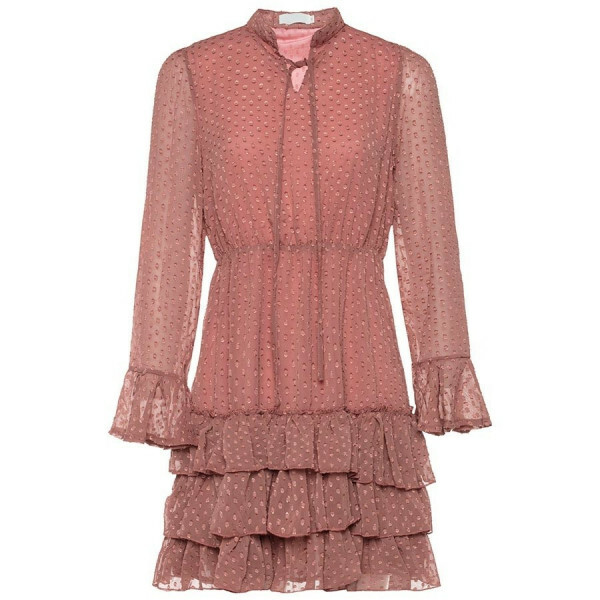DOT RUFFLE DRESS OLD PINK
