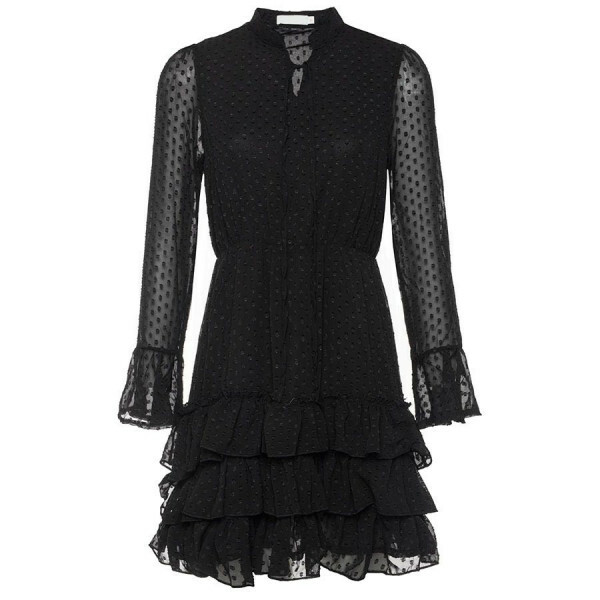 DOT RUFFLE DRESS BLACK