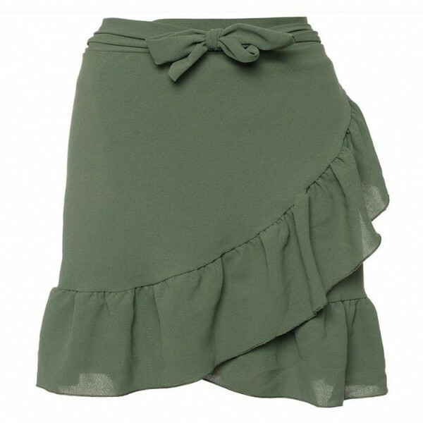 WRAP RUFFLE SKIRT GREEN