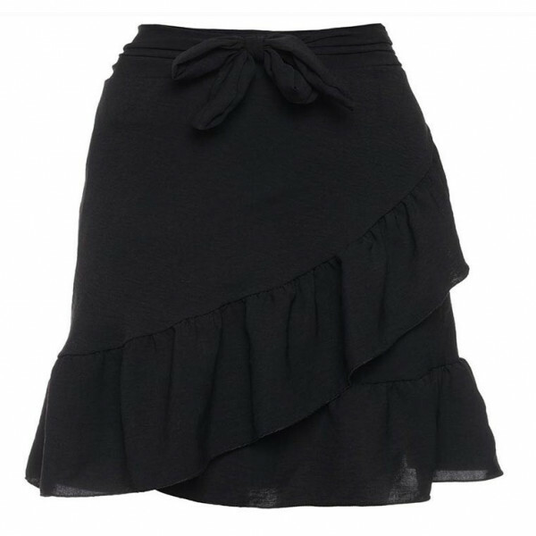 WRAP RUFFLE SKIRT BLACK