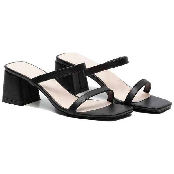 STRAPPY SQUARE HEELS BLACK