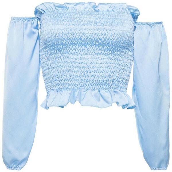 SATIN BARDOT TOP BLUE