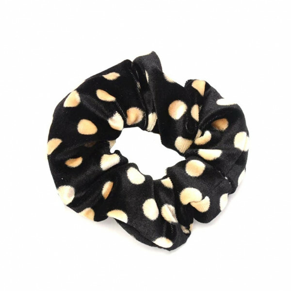 VELVET SCRUNCHIE DOTS BLACK