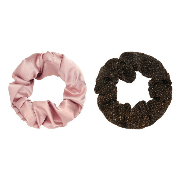 SCRUNCHIE SET PINK/GLITTER GOLD
