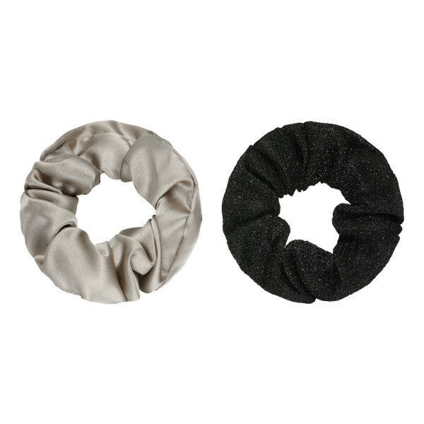 SCRUNCHIE SET BEIGE/GLITTER BLACK
