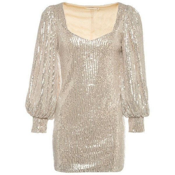 FANCY SEQUIN DRESS BEIGE