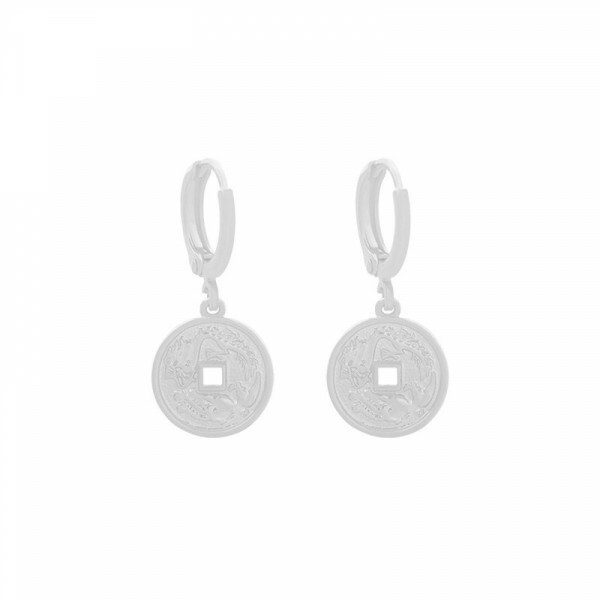 ENGRAVED COIN EARRINGS SILVER