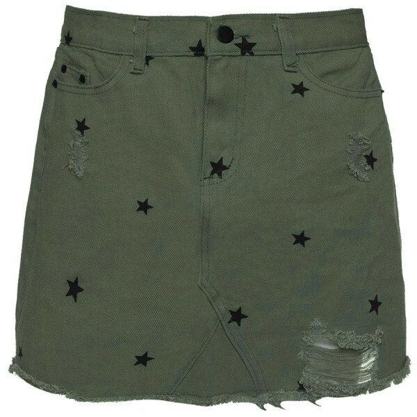 DENIM STAR SKIRT DARK GREEN