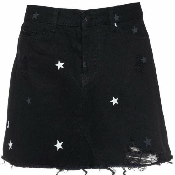 DENIM STAR SKIRT BLACK