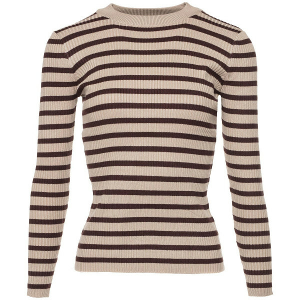 BEIGE AND BROWN STRIPY TOP