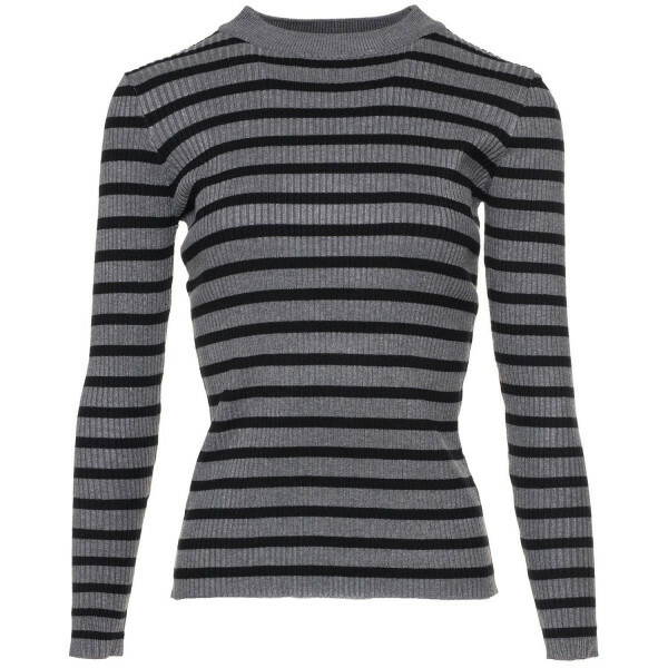 GREY AND BLACK STRIPY TOP