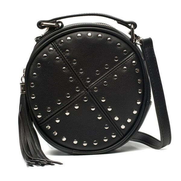 BLACK CIRCLE STUDDED BAG