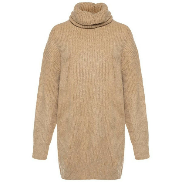 KNITTED SWEATERDRESS COL BEIGE