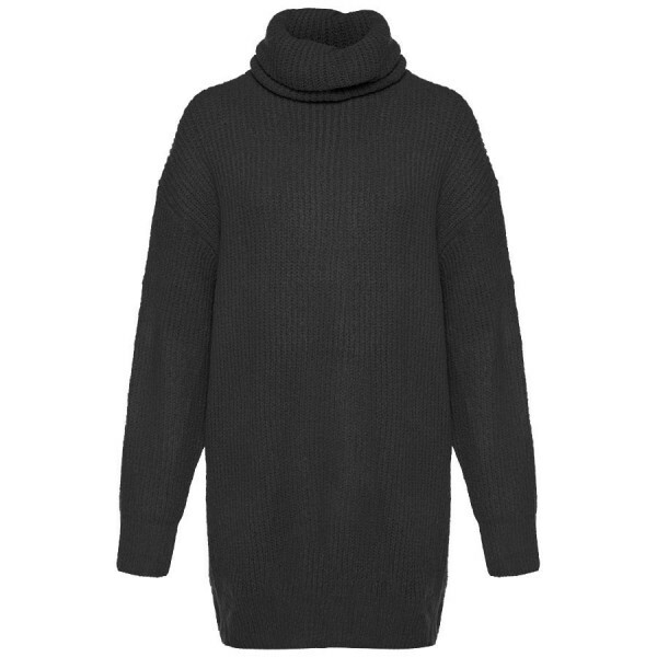 KNITTED SWEATERDRESS COL BLACK