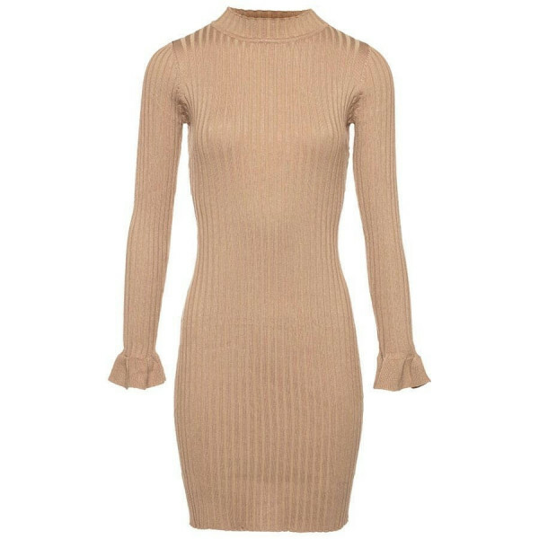 SWEATERDRESS RIBBED BEIGE