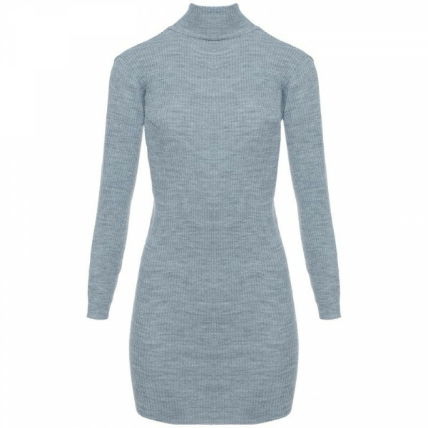 RIBBED SWEATER DRESS GREY