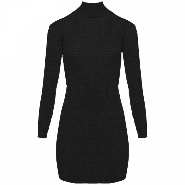 RIBBED SWEATER DRESS BLACK