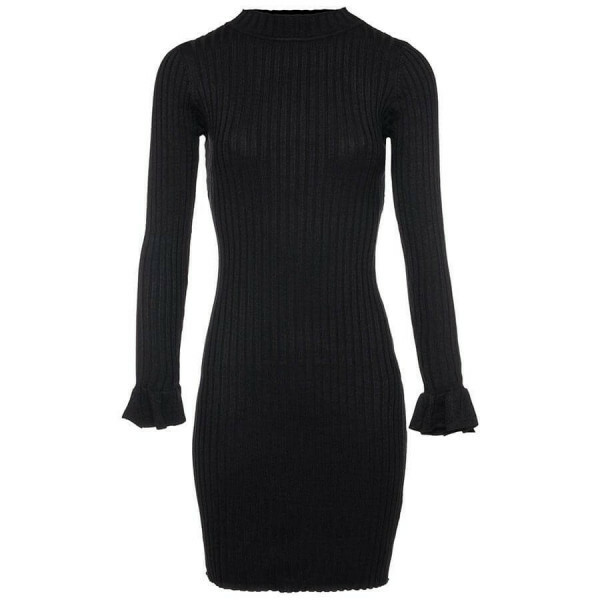 RIBBED TURTLENECK DRESS BLACK
