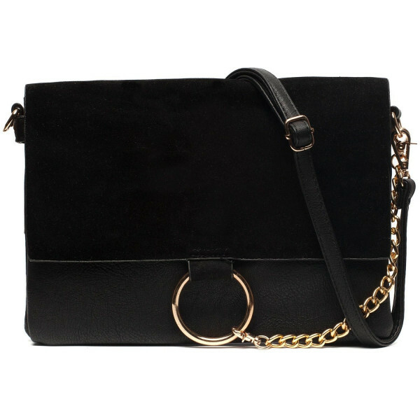 BLACK FOLDOVER RING BAG