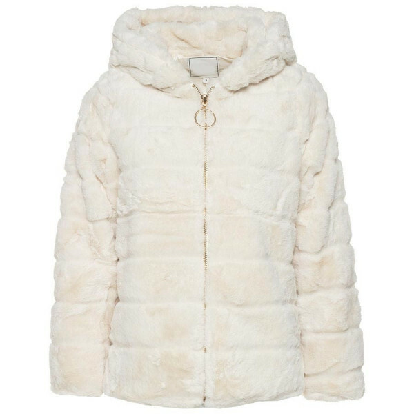 HOODED FURRY COAT BEIGE