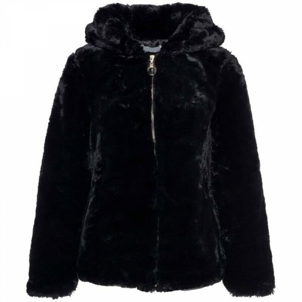 HOODED FUR COAT BLACK