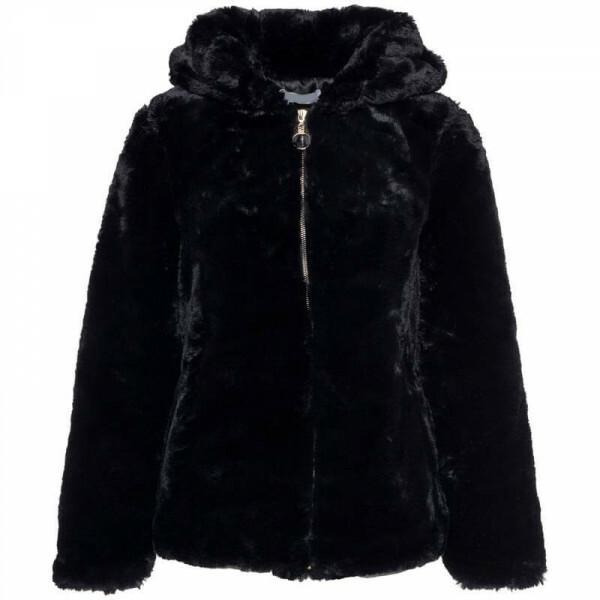 HOODED FUR COAT BLACK