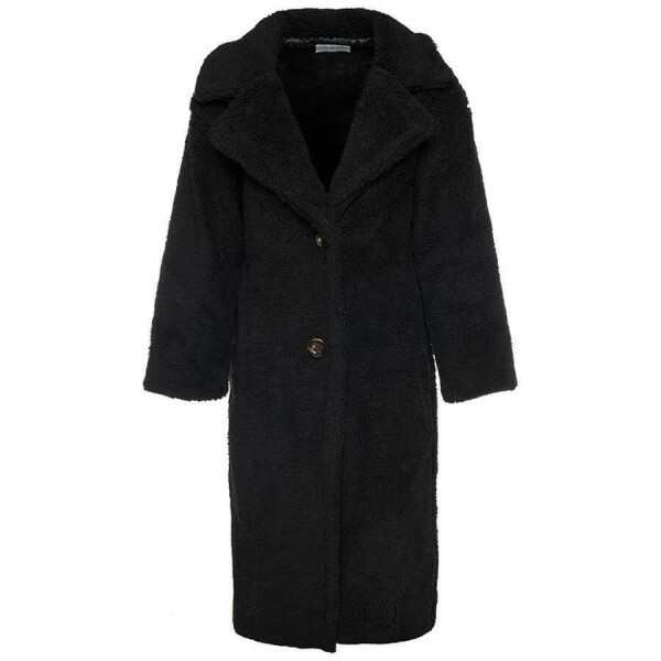 LONG COSY TEDDY COAT BLACK