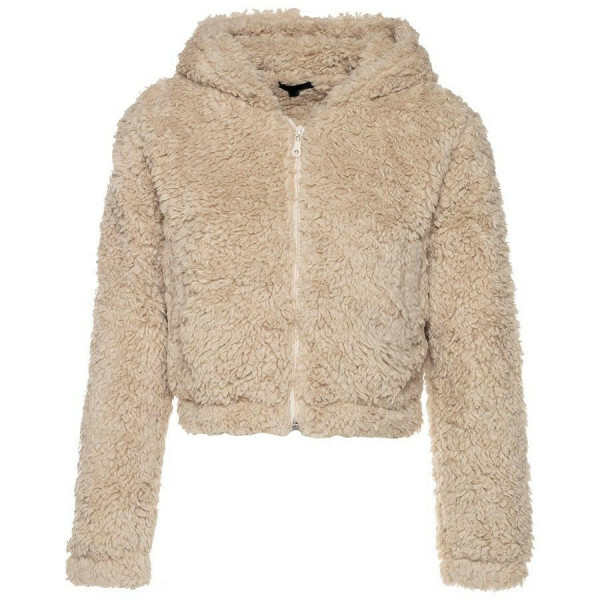 CROPPED SOFT TEDDY COAT BEIGE
