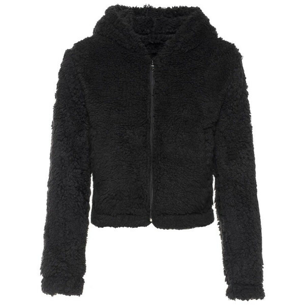 CROPPED SOFT TEDDY COAT BLACK