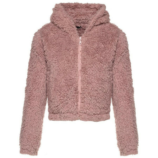 CROPPED SOFT TEDDY COAT PINK